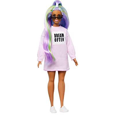 Barbie Fashionistas Doll with Long Rainbow Hair Wearing Sweatshirt Dress and Accessories, for 3 to 8 Year Olds​: Toys & Games