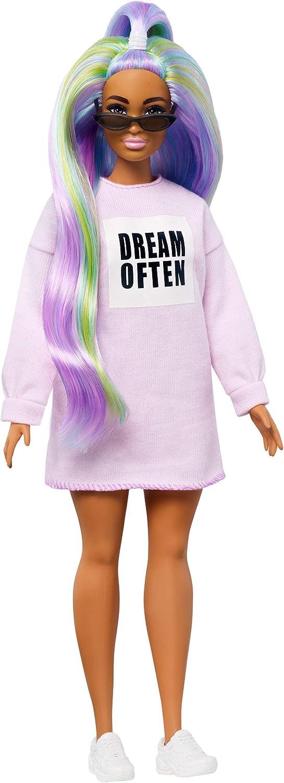Barbie Fashionista Muñeca con El Pelo Largo de Color Arcoíris (Mattel Ghw52) , color/modelo surtido