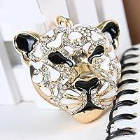Crystal Rhinestone Tiger Head Shape Keyring Charm Pendant Purse Bag Key Ring Clip Keychain (Black & White)