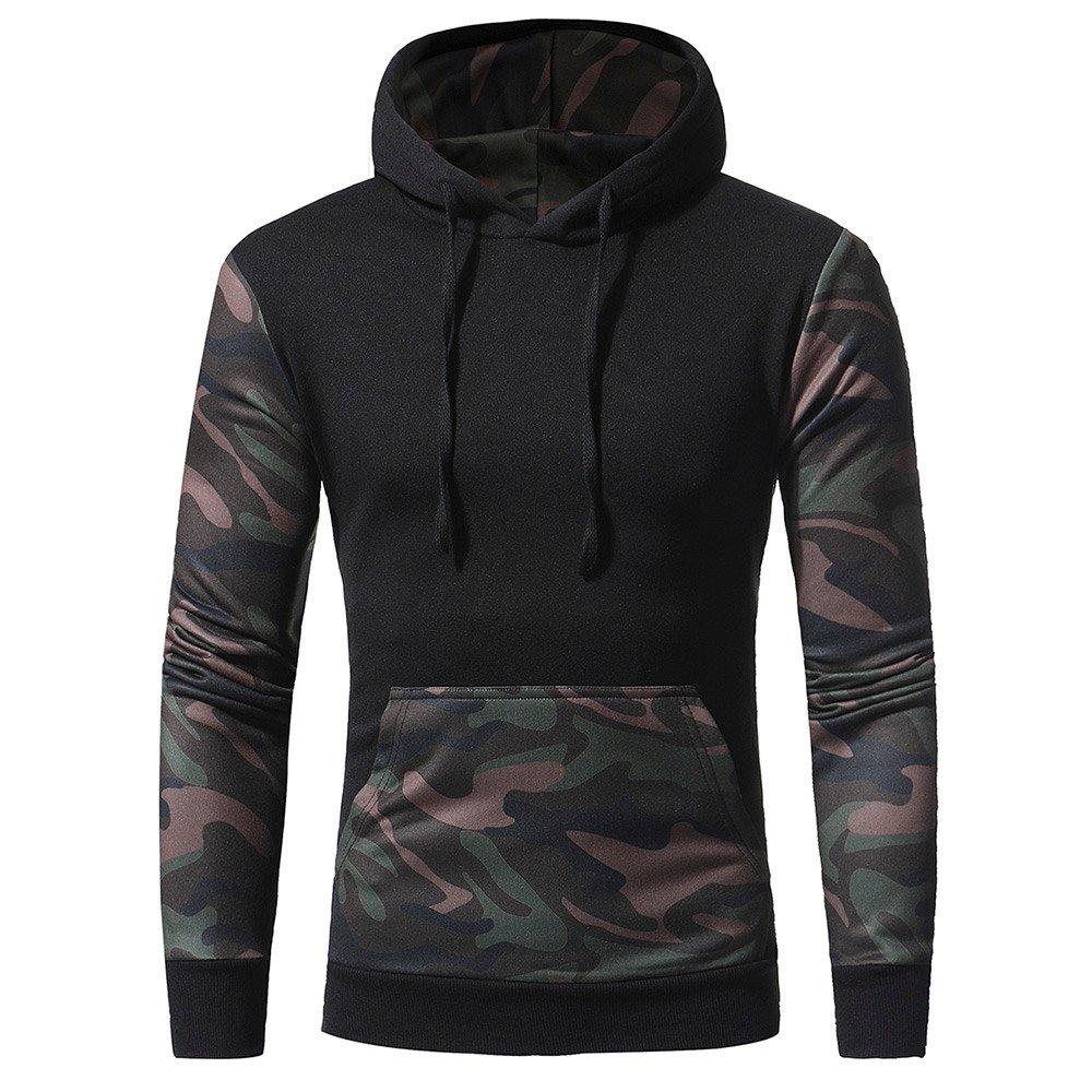 PASATO Classic Men's Camouflage Long SleevePrint Hooded Sweatshirt Tops Jacket Coat Outwear Clearance Sale(Black, XXL=US:XL)