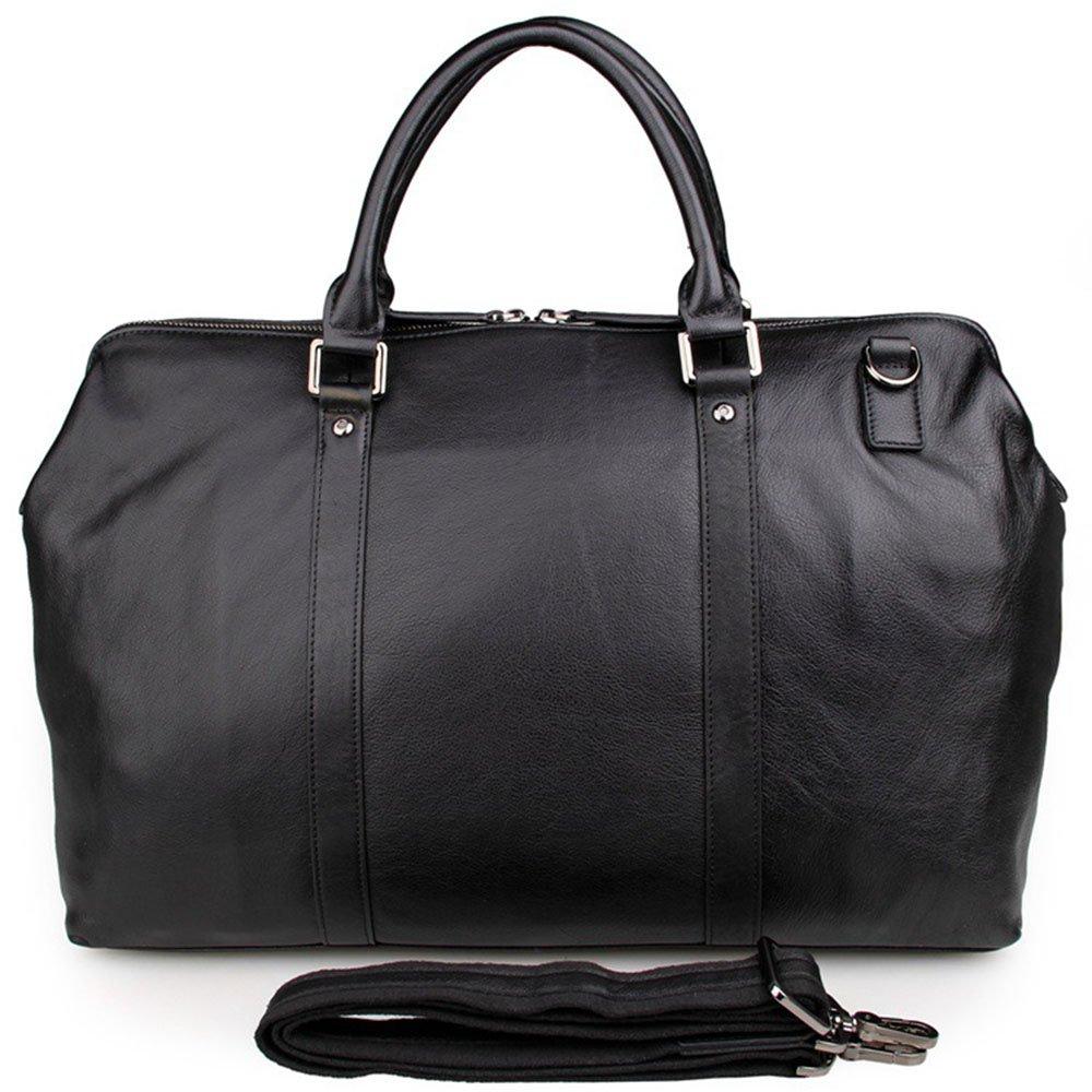 荷物バッグ メンズブラック高品質PUレザートラベルバッグカジュアルハンドバッグビジネスカジュアルブリーフケースファイルパッケージ (色 : ブラック) B07RZN8DMF ブラック