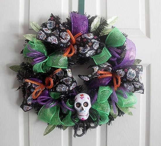 Amazon.com: Sugar Skull wreath, Sugar skull Halloween Wreath, Home ...