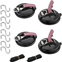 EXLECO Set van 4 zuignaphaken, met 8 S-haken en 2 touwbinden, multifunctionele autohouder voor de auto, voor huishouden…