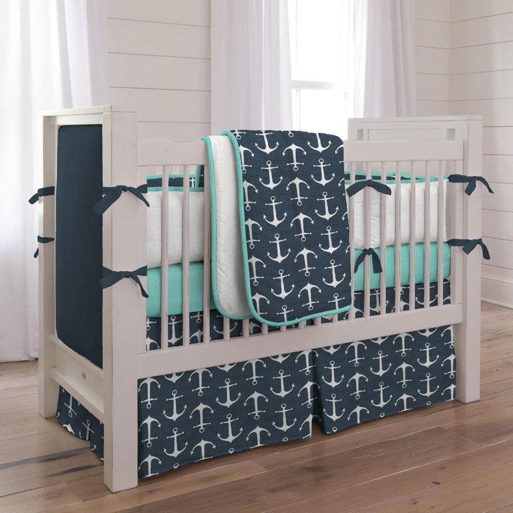 Carousel Designs Navy Anchors 3-Piece Crib Bedding Set