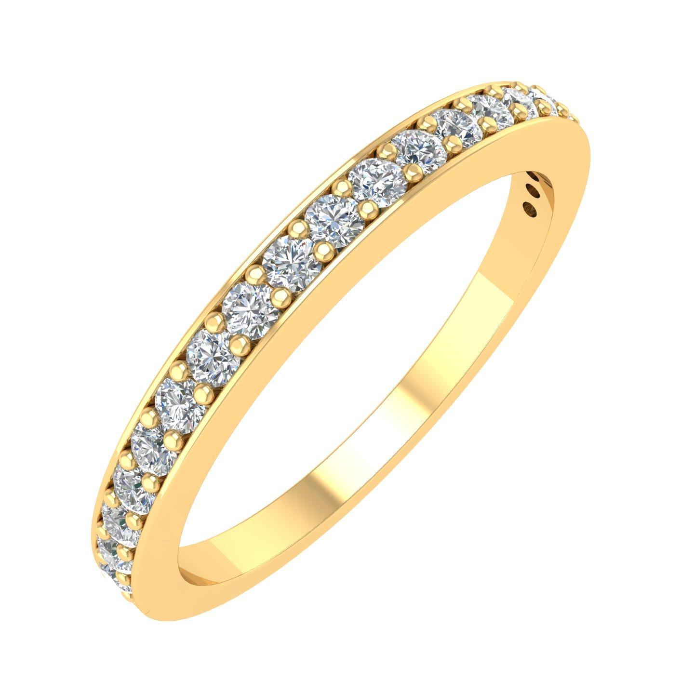 IGI Certified 14k Yellow Gold Wedding Diamond Band Ring (1/4 Carat)