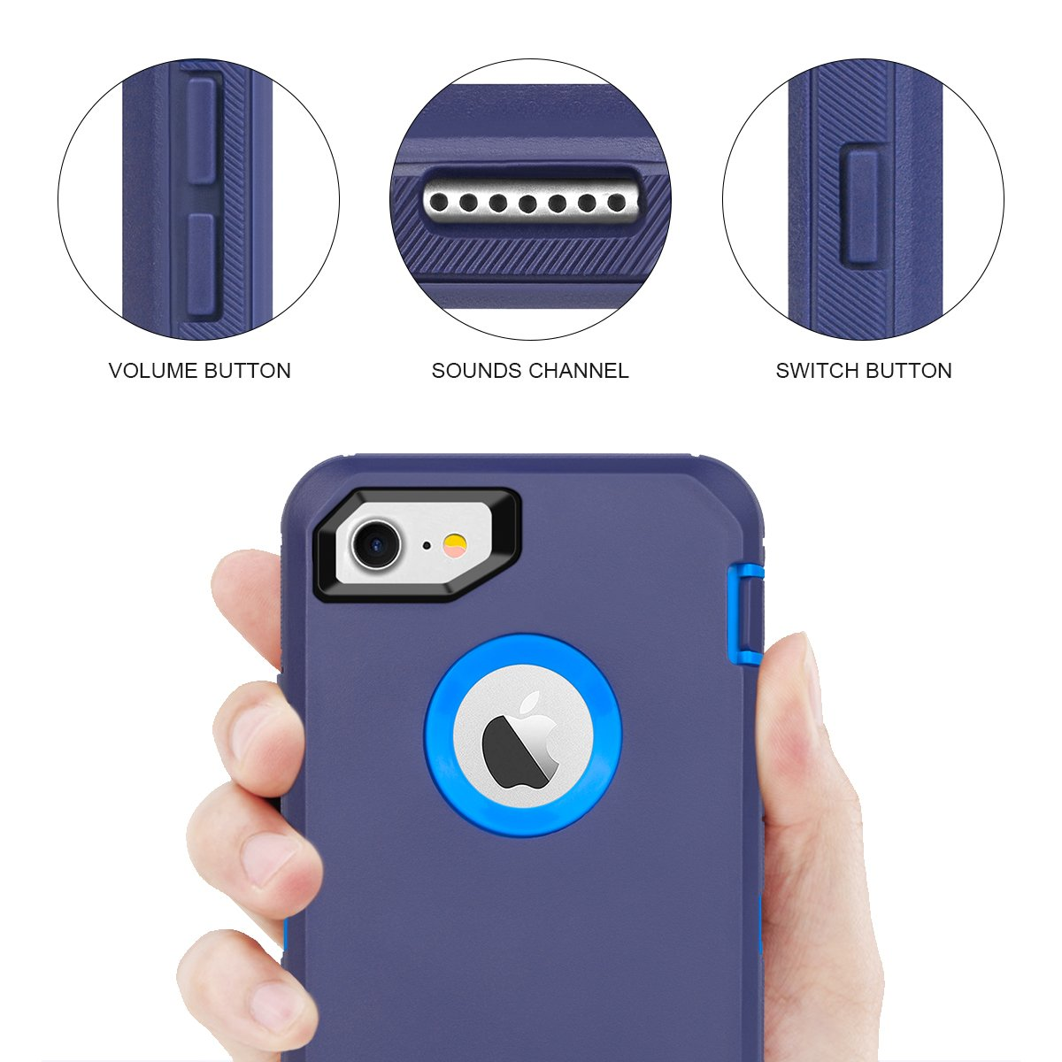 Heavy Duty Shockproof Series Case for iPhone 7//8 4.7 with Built-in Screen Protector Without Belt Clip Black iPhone 8 Case MAXCURY iPhone 7 Defender Case