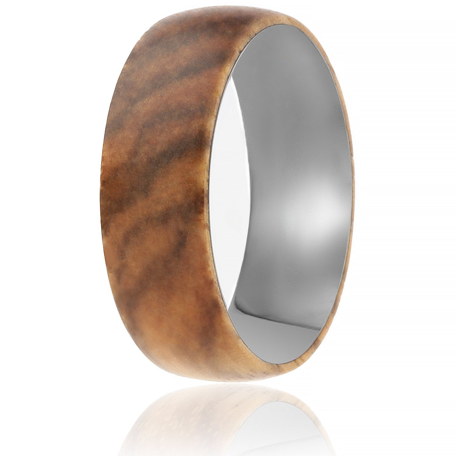 SOLEED Rings Wooden Wedding Band with Inner Tungsten Layer For Strength and Protection - Designed For Men and Women, 8mm Natural Zebra Wood Ring, Comfort Fit Design, Domed Top - Size 11