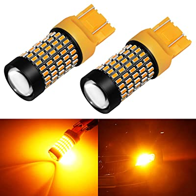 Phinlion 7443 LED Amber Turn Signal Light Bulbs 2800 Lumens Super Bright 3014 103-SMD T20 992 7440 7443 7444 LED Bulb for Turn Signal Blinker Lights, Orange Yellow: Automotive