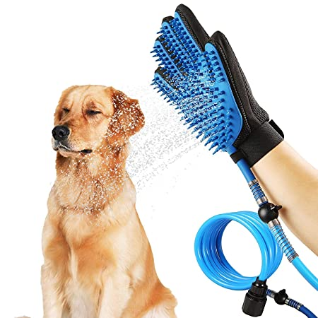 CBEX New Amazing Portable Pet Shower Sprayer and Pet Deshedding Glove 2 in 1 with 3 Faucet Adapters