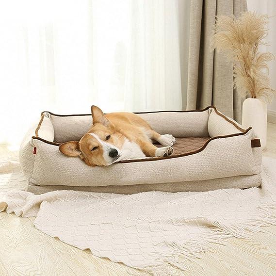 Cama de Mascota Colchón Rectangular Extraíble y Lavable Cama de Perro Universal Transpirable y Confortable de Cuatro Estaciones L (Beige 90 x 68x23 cm): ...