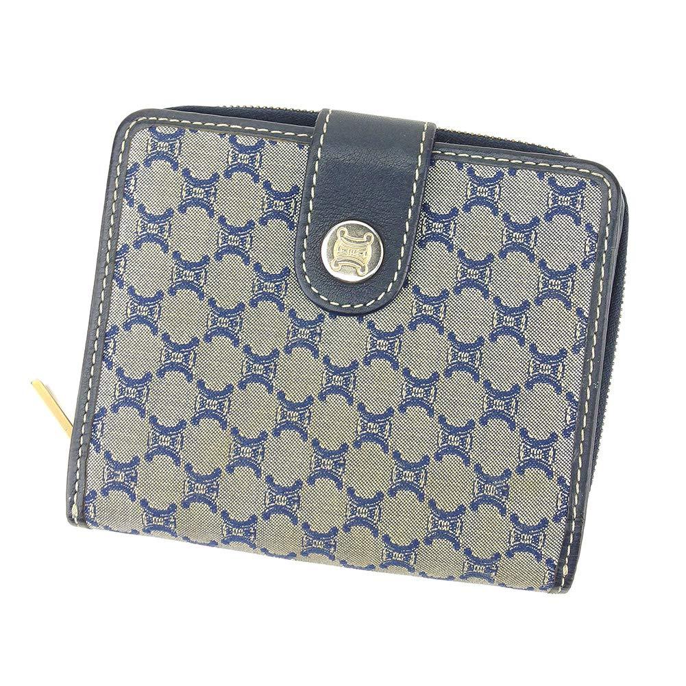 (セリーヌ) Celine 二つ折り 財布 マカダム ネイビー グレー 灰色系 レディース メンズ 中古 F1397   B07KY8GBXW