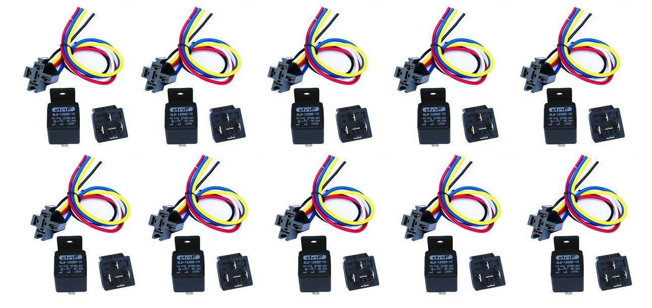 DNF (10 Pair) 30/40 AMP Relay Harness (Long) SPDT 12V Bosch Style