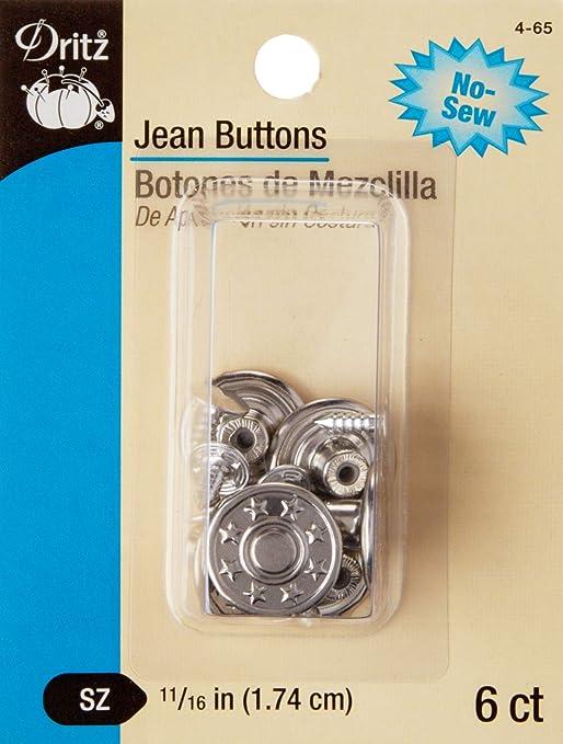 Dritz Jean Buttons 1 1//16-6 Ct. Nickel