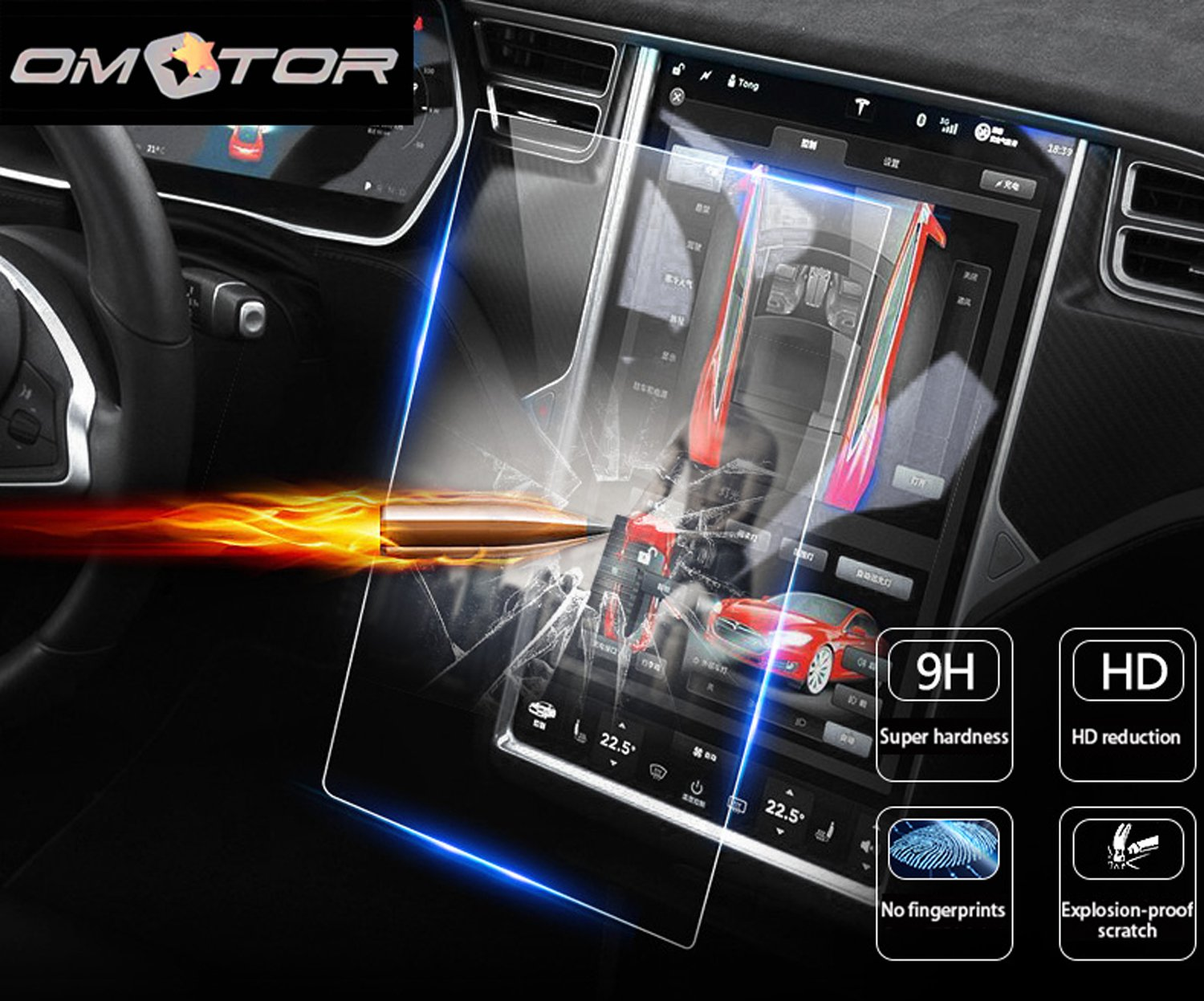 OMOTOR Tempered Glass Touch Screen Protector for 2016 2017 Tesla Model X/2012-2017 Model S, 60 60D 70 70D P85D 90D 100 P100D 75D P90D P100D
