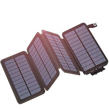 Hiluckey Cargador Solar 25000mAh, Portátil Power Bank con 4 Paneles Solar 2 USB 2.1A Output Impermeabl Batería Externa para iPhone, iPad, Samsung, ...