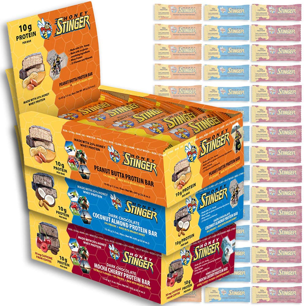 Honey Stinger Protein Bars Variety Pack: Includes 15x Peanut Butta, 15x Coconut Almond, and 15x Mocha Cherry 1.5-Oz High Energy Bars with Organic Honey