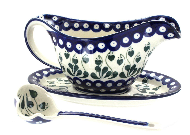 Blue Rose Polish Pottery Alyce Gravy Boat & Ladle