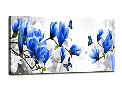 Amazon.com: Baisuart Canvas Prints Wall Art Blue Flowers with ...