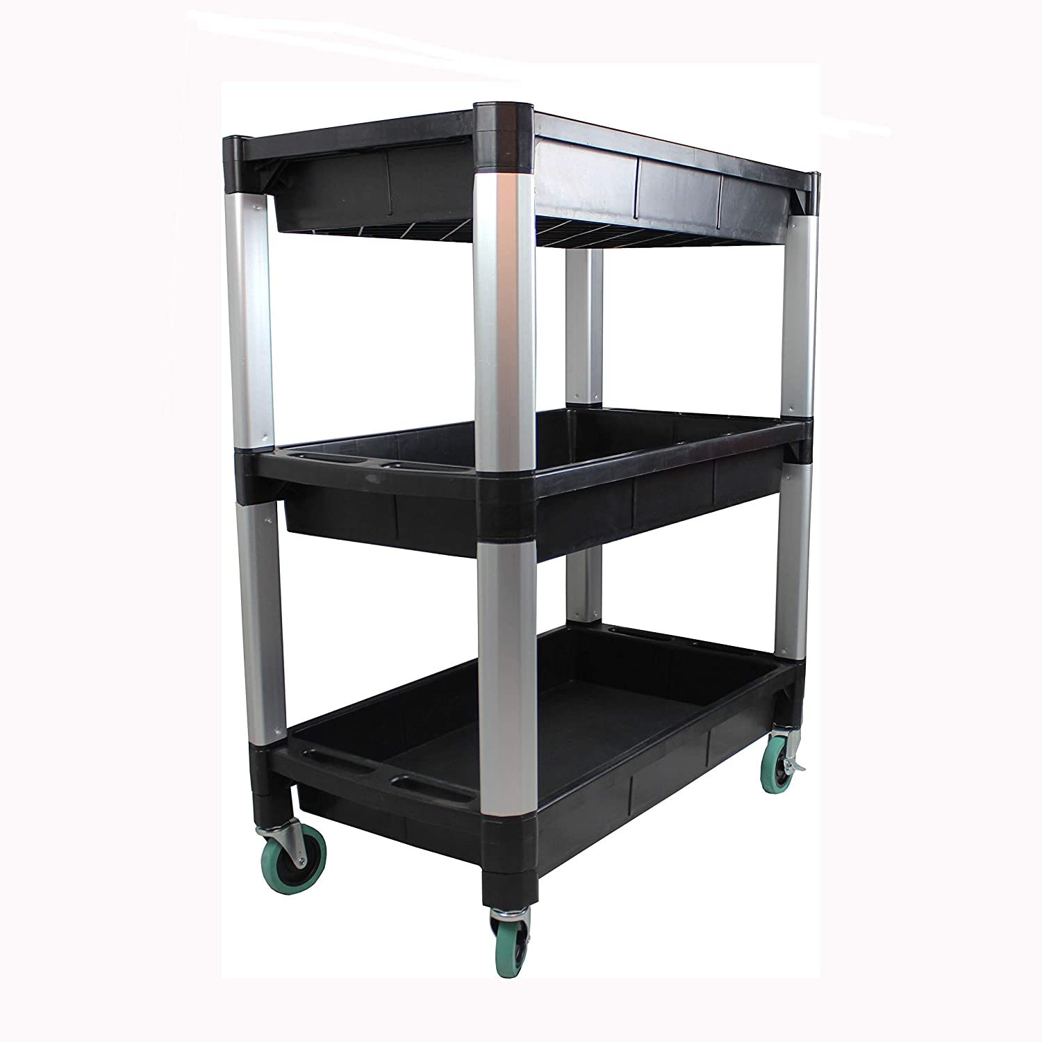 Plastic Utility 3 tray 550LB Rolling Service Cart Shop Office Warehouse Tray