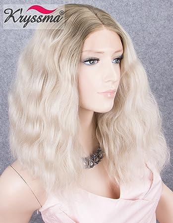 Amazon Com K Ryssma Ombre Blonde Short Bob Lace Front Wigs For