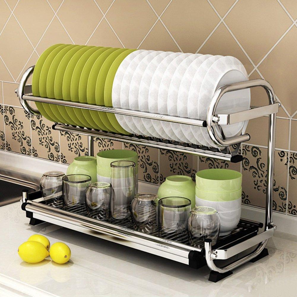 2層キッチンシェルフダブル排水皿ラック壁掛け食器ラックカトラリー配置食器収納ラック201ステンレス鋼57×25×38 cm B07RNQ7YRB