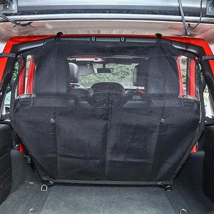 Dirtydog 2018 Jeep Wrangler JLU 4 door Pet Divider with hammock and door protectors behind front seats Webbing Black JL4PH18HBK