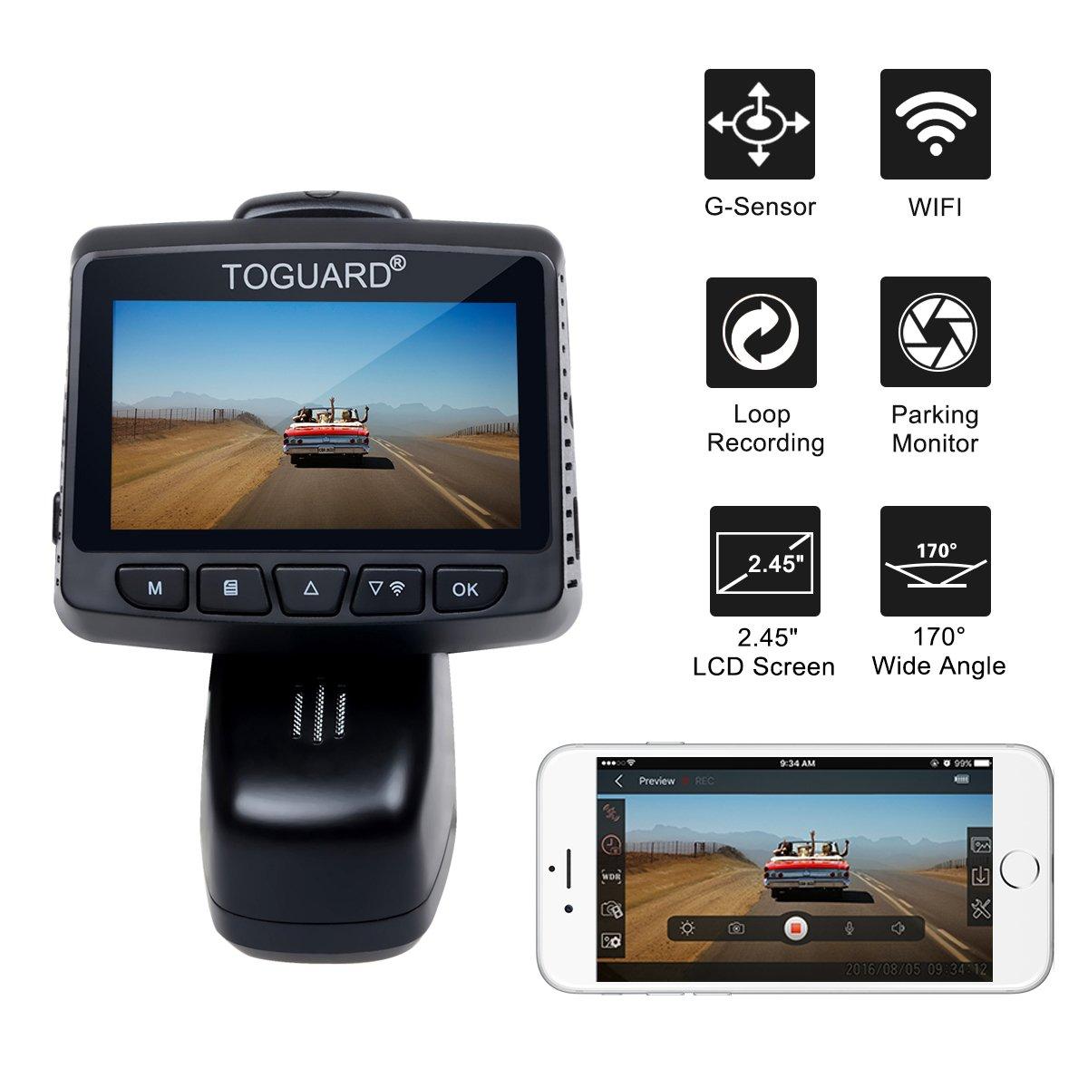 TOGUARD Cam/éra de Voiture WiFi Cam/éra Embarqu/ée Full HD 1080P Objectif R/églable /à Grand Angle de 170 Degr/és Enregistrement en Boucle Dashcam Voiture Enregistreur de Conduite /Écran LCD 2.45 Pouces