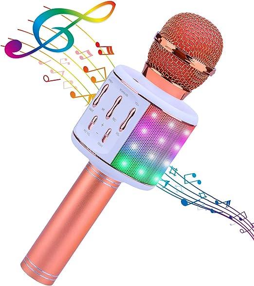 ShinePick Micrófono Karaoke Bluetooth, 5 en1 Microfono Inalámbrico Karaoke Portátil con Luces LED y Altavoz para Niños Canta Partido Musica, ...