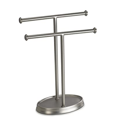 Umbra Palm Double Hand Towel Tree Brushed Nickel 2 Towels Holder And Accessories Stand For