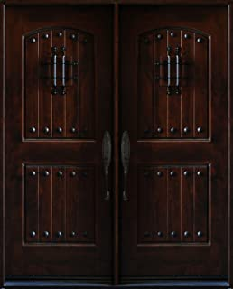Knotty Alder Exterior Front Entry Double Door 30\