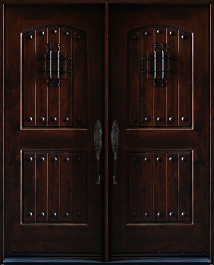 5 X 68 Knotty Alder Front Exterior Wood Double Entry Door