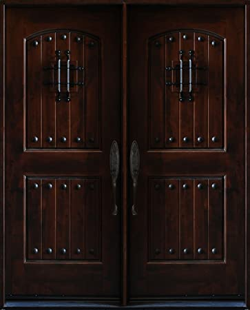 5\' x 6\'8 Knotty Alder Front Exterior Wood Double Entry Door ...