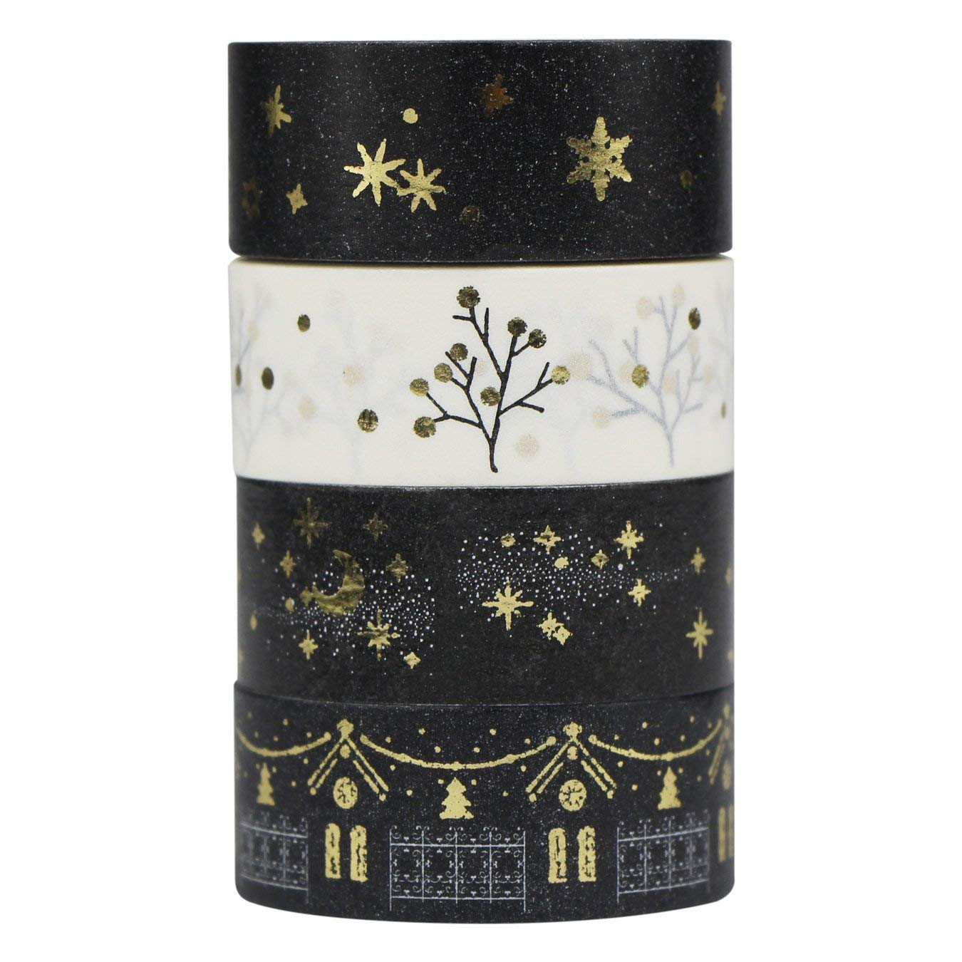 Nastro decorativo Washi AUFODARA Set di 4 pz argento