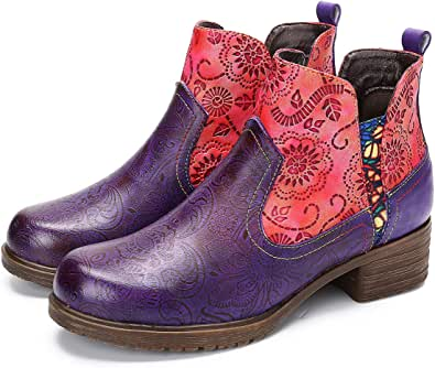 gracosy ankelstövlar för kvinnor läder bohemiska cowboy ankelstövlar platta låga klackstövlar vinter varm päls fodrad kort stövel dragkedja skarvmönster handgjorda vintage skor komfort halkfri promenadstövel
