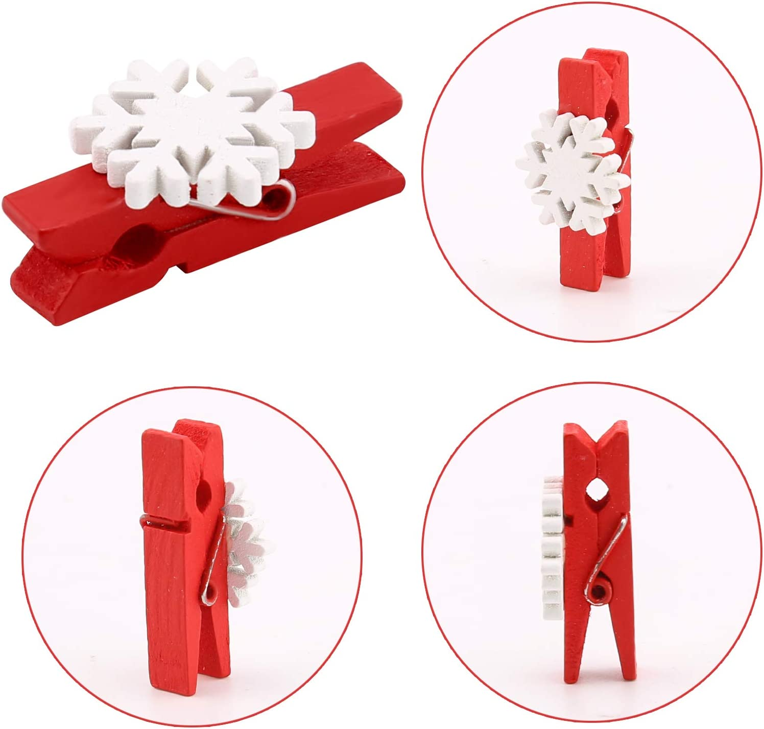 SAVITA 50Pcs Christmas Wooden Clothespins Mini Red Snowflake Pegs Photo Clips with 10m Jute Twine for Hanging Cards Photo Paper Crafts