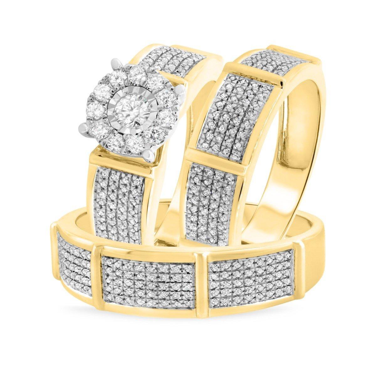 2heart 1 Ct Sim Diamond Mens/Womens 3 Piece Trio Engagement Ring Set 14K Yellow Gold Over