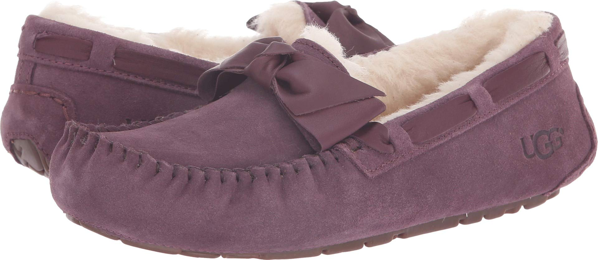 UGG Women's W Dakota Leather Bow Slipper, Port, 9 M US by UGG