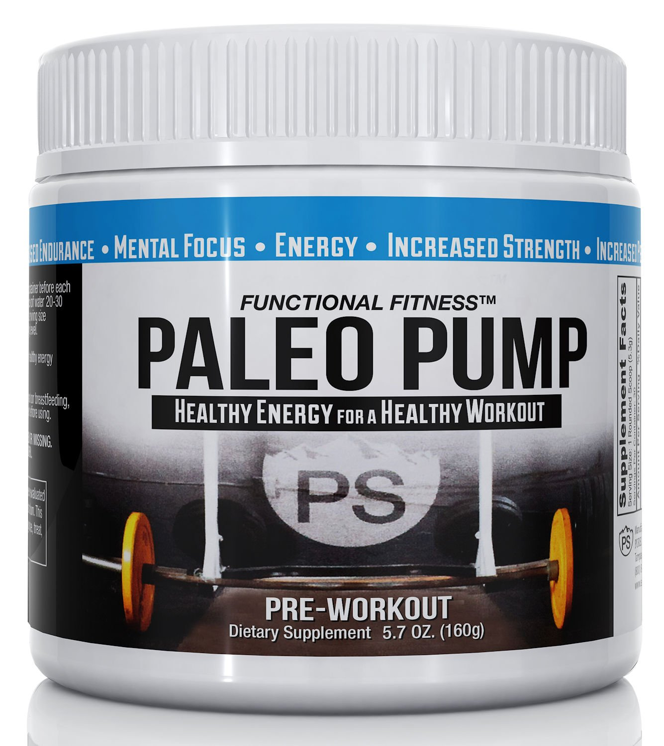 #1 Rated PALEO PUMP All Natural Pre-Workout Energy Blend | 30 Servings Per Container | No Additives All Natural Flavoring | 5.7 oz Jar | Paleo Diet Friendly | Free Shipping! by Paleo Pump