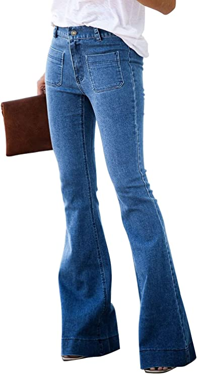 Bell Bottom Jeans Raw Hem Denim Pants front pockets flared leg Denim Fashion