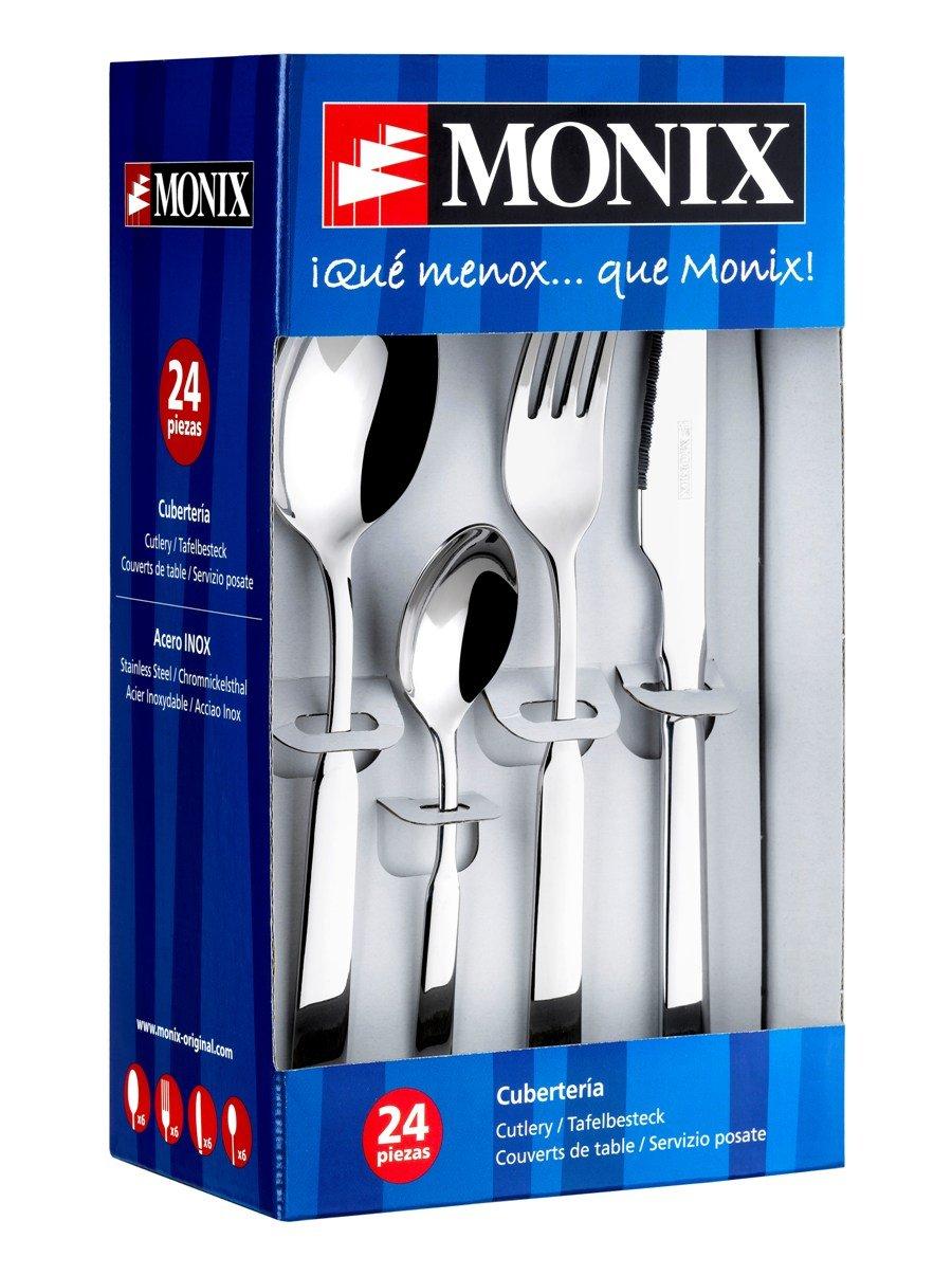 Monix Europa - Set de cubiertos 24 piezas de acero inox 18/c, con cuchillo normal: Amazon.es: Hogar