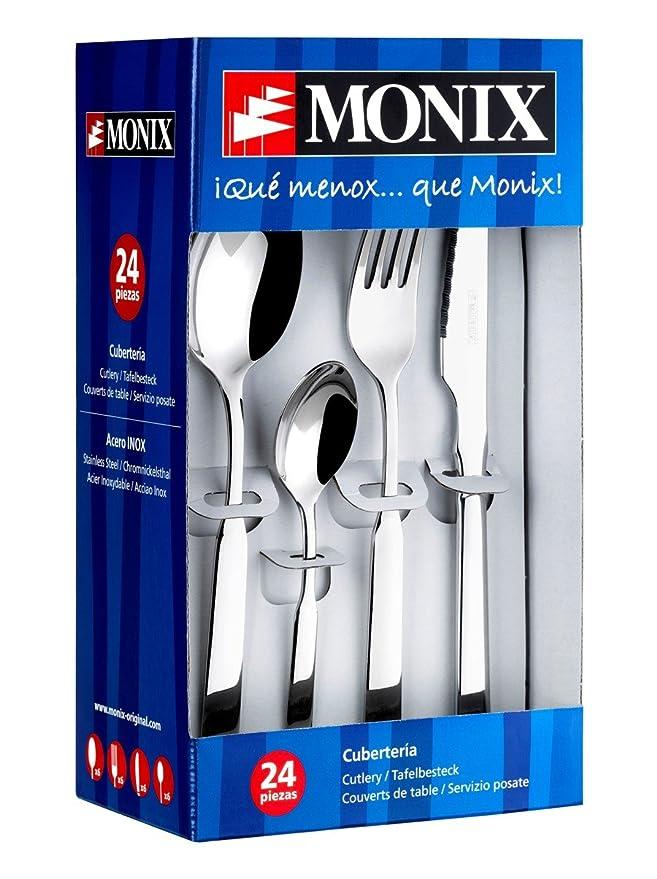 Monix Venecia - Set 113 piezas cubiertos de acero inox 18/10 con cuchillo chuletero y estuche estilo Nogal: Amazon.es: Hogar