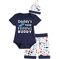 Auggle 3PCS Baby Boys' Daddy's New Fishing Buddy Outfit Set Short Sleeve Bodysuit