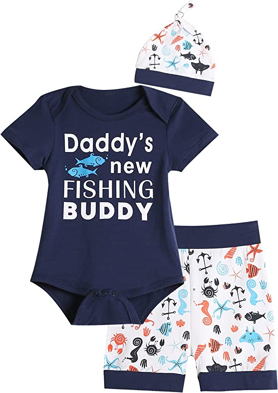 Emmababy Unisex Baby Long Sleeve Romper Bodysuit Dads Fishing Buddy Print Sweatshirt Pants Trousers Hat Outfit Clothes