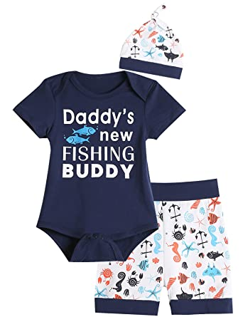 ff1d1bf8a Amazon.com  3PCS Baby Boys  Daddy s New Fishing Buddy Outfit Set ...