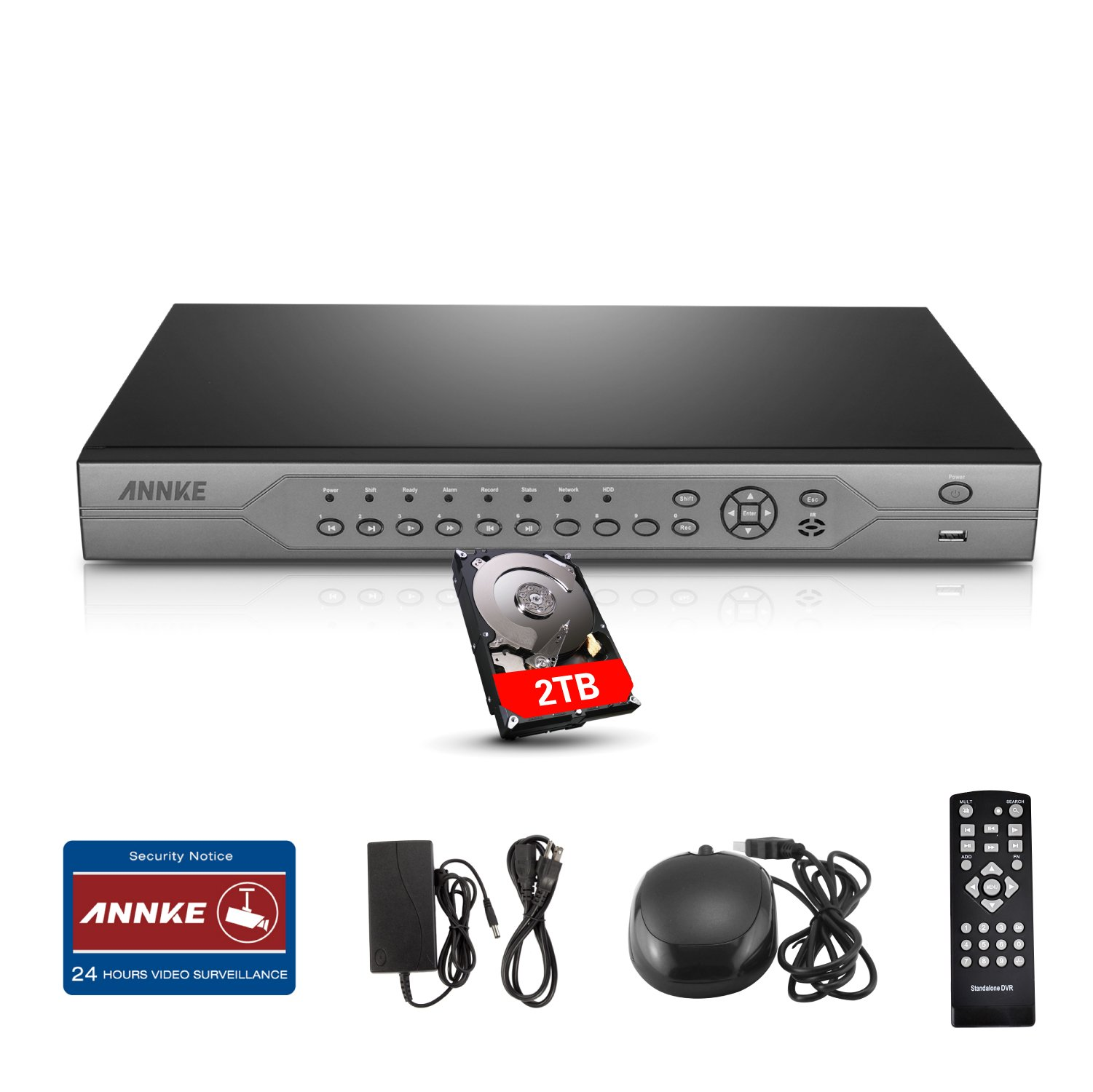 ANNKE 5-in-1 32 Channel 720P HD Surveillance Digital Video Recorder with 2TB HDD, P2P Technology, QR Code Scan Remote Access and Smart Motion Detection Alert