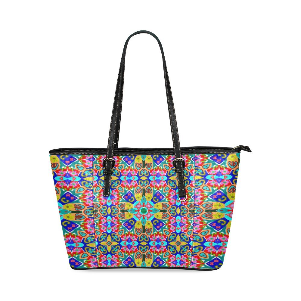 Custom Design Paisley Pattern Leather Tote Bag/Small (Model 1640)