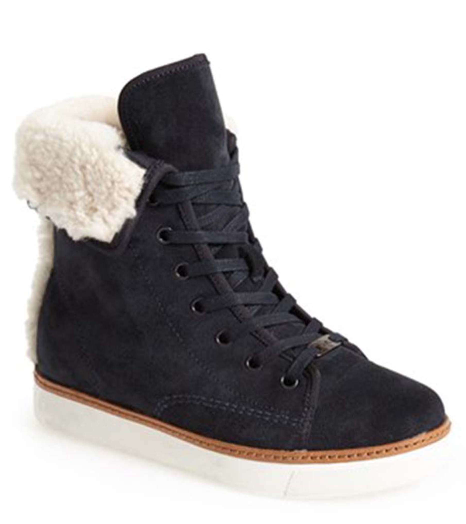 Coach Woman's Ramsey Shearling Boot Sneaker Navy Size 5.5 M by led