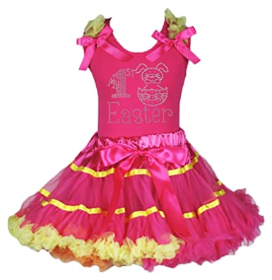 14d8f56b8712 My 1st Easter Dress Rabbit Egg Hot Pink Shirt Rainbow Skirt Outfit Set 1-8y