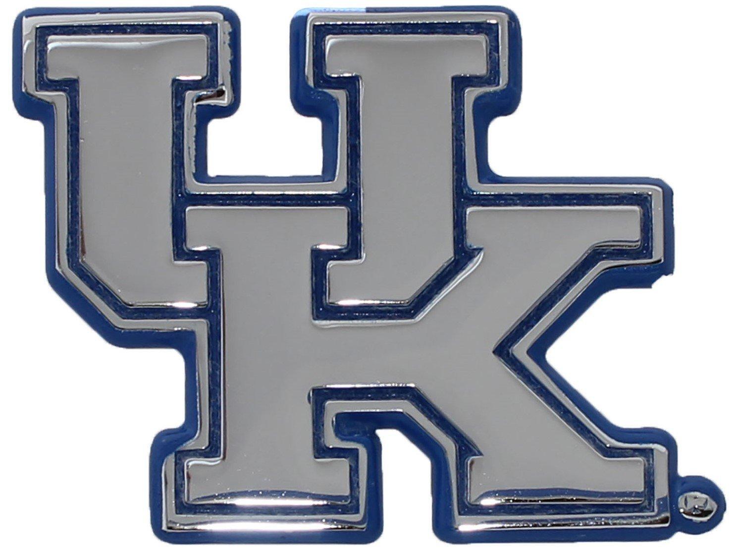 University Kentucky Wildcats Metal Chrome Emblem w//Blue Trim
