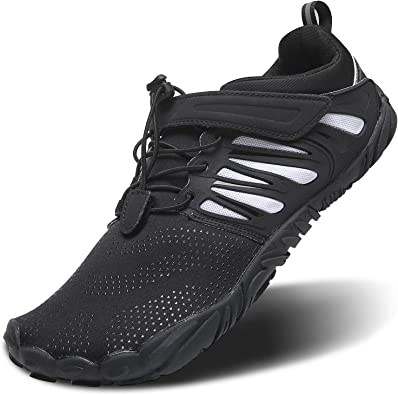 Amazon Com Mens Cross Training Shoes Minimalist Trail Running Shoes Barefoot 5 Five Fingers Minimus Wide Width Toe Box For Gym Workout Walking Low Zero Drop Male Hiking Fitness Sneakers Blackwhite Size